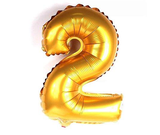 """Balão Metalizado Dourado Nº2 16"""""""