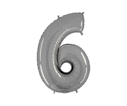 """Balão Metalizado Prata Nº6 16"""""""