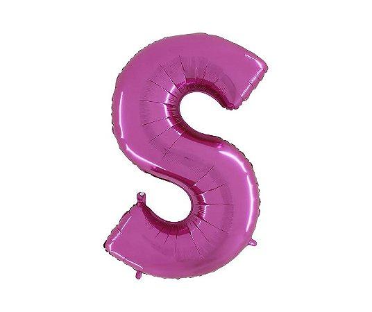 """Balão Metalizado Rosa Letra S 40"""""""