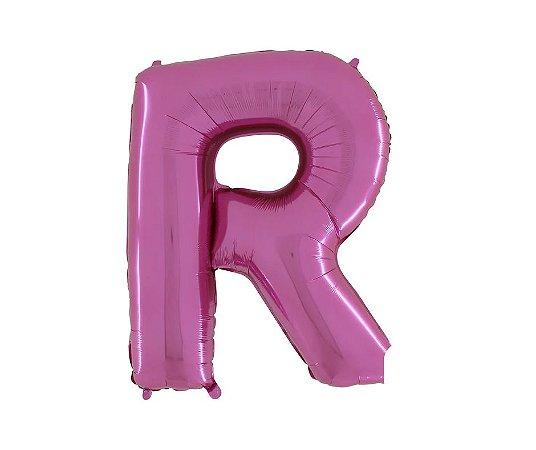 """Balão Metalizado Rosa Letra R 40"""""""