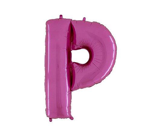 """Balão Metalizado Rosa Letra P 40"""""""