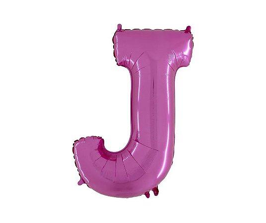 """Balão Metalizado Rosa Letra J 40"""""""