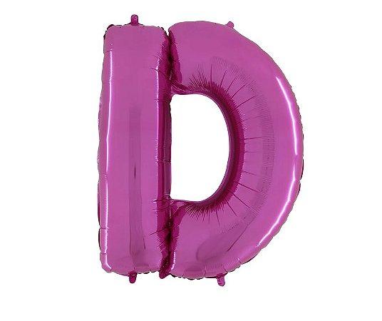 """Balão Metalizado Rosa Letra D 40"""""""
