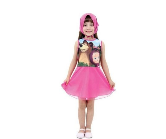 Vestido Masha Faces M - 6 anos