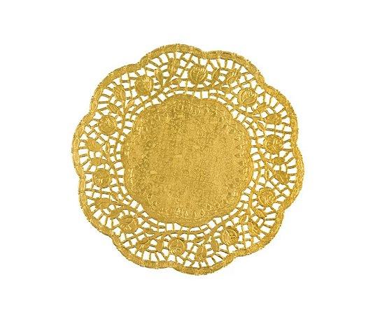 Papel Rendado Doilies 10 cm Dourado 20 unidades
