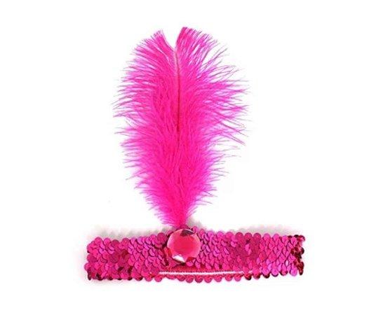 Faixa Melindrosa Pink com Pluma
