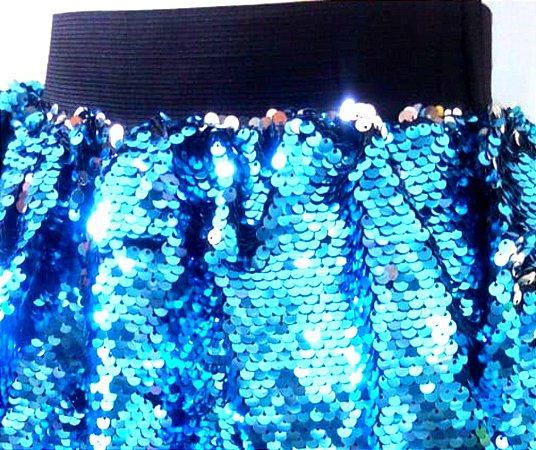 Saia de Lantejoulas Azul Infantil tam Único