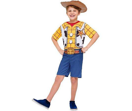 Fantasia Macacão Curto Woody Toy Story 4 inf tam G 10 a 12 anos