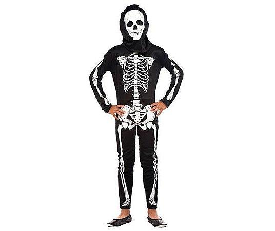 Fantasia Macacão Esqueleto Infantil Tam P