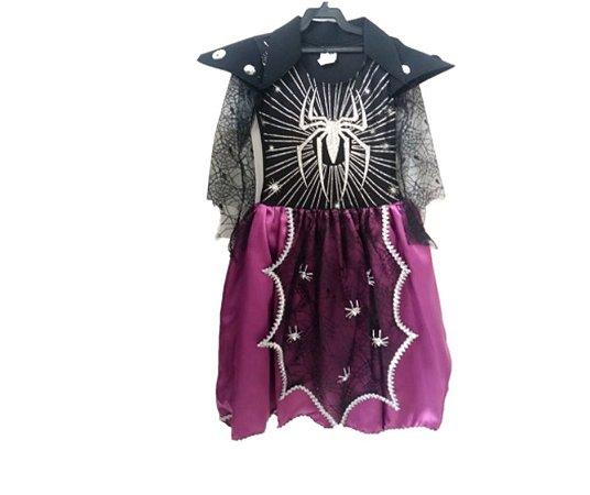 Fantasia Vestido Bruxa Roxo Infantil Tam 8