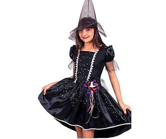 Fantasia Vestido Bruxa Estrelas tam 10