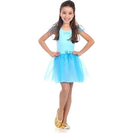 Fantasia Bailarina Azul M 6 a 8 anos