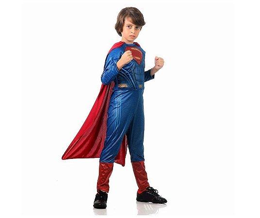 Fantasia Super Homem Luxo infantil tamanho G 10 a 12 anos