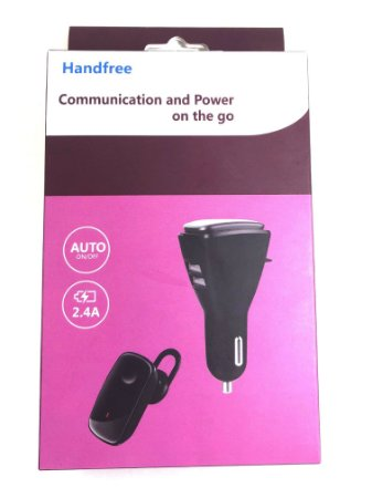 Fone Ouvido Bluetooth Com Carregador de Carro Handfree 2.4A
