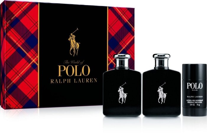 kit Polo Black Eau de Toilette Perfume Masculino 118ml + Pós Barba 118ml + Desodorante 75g