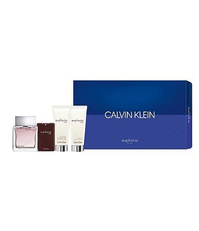 Kit Calvin Klein Euphoria For Men -  EDT Spray 100ML +  Pulverizador de bolso 20ML + Após barbear bálsamo 100ML + Lavagem de Cabelo e Corpo 100ML