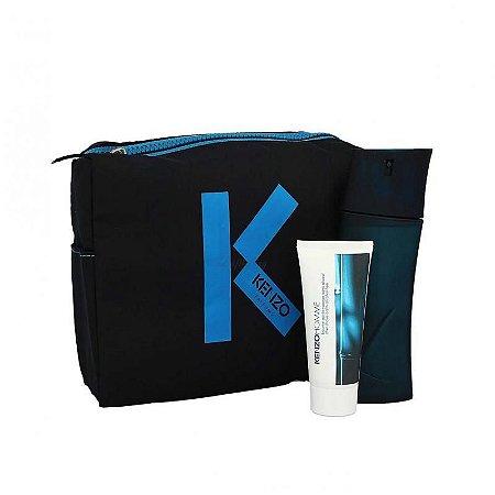 Kit Kenzo Homme Eau de Toilette - Perfume Masculino 100 ML + Pós Barba 50 ML + Necessaire