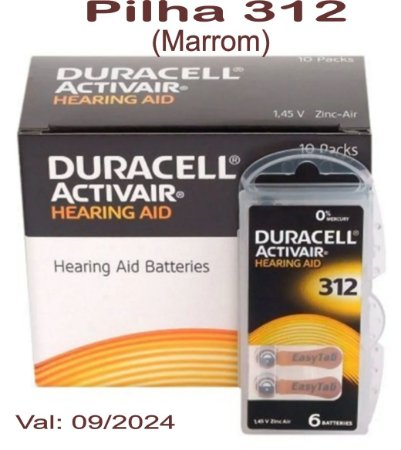 60 Pilhas auditiva Duracell Activair 312 - PR41