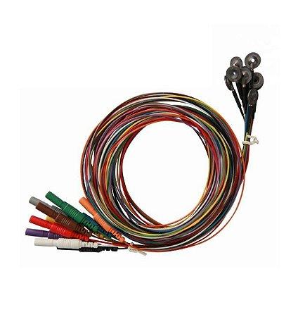 "10 Eletrodos discos  Ag/AgCl Aleph Electrodes - 10 Cores - Conector ""touch proof"""
