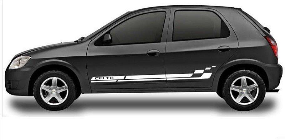Kit Adesivo faixa lateral tuning Chevrolet Celta 2 e 4 portas até 2015 2016 modelo Celta