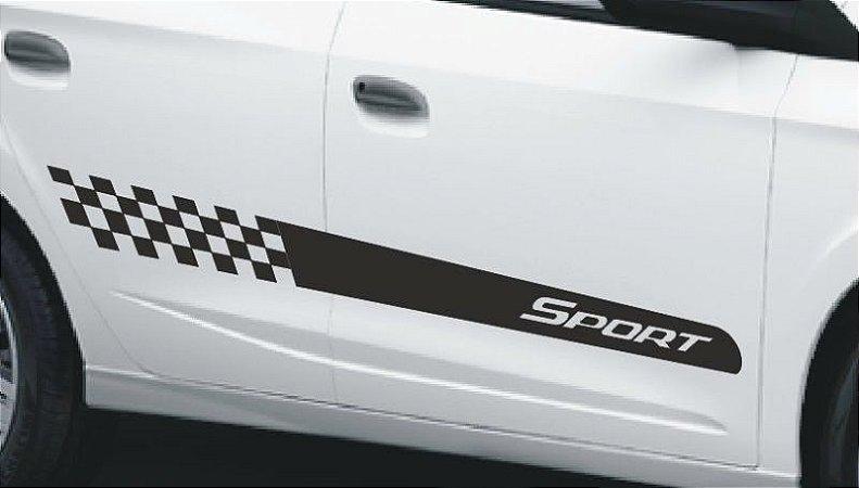 Kit Adesivo faixa lateral tuning Chevrolet Onix e Novo Prisma modelo Sport
