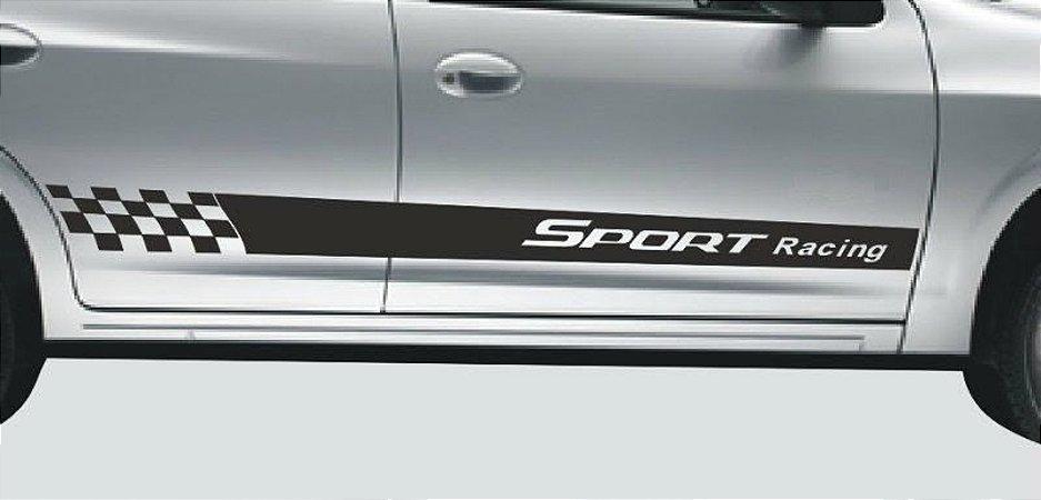 Kit Adesivo faixa lateral tuning Chevrolet Celta 2 e 4 portas até 2015 2016 modelo Sport Racing