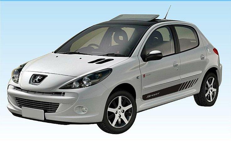 Adesivo faixa lateral tuning Peugeot 206 e 207 (4 portas) modelo Sport listrado fita colante SRT