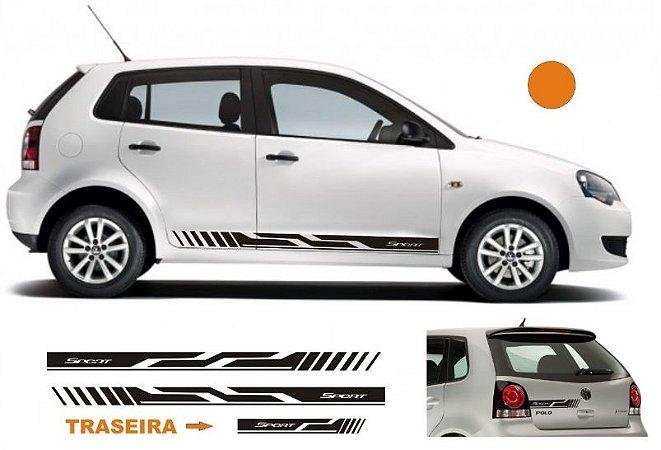 VW Polo Kit Adesivo faixa lateral e Traseira esportiva tuning G1 e G2 modelo VP1 Sport
