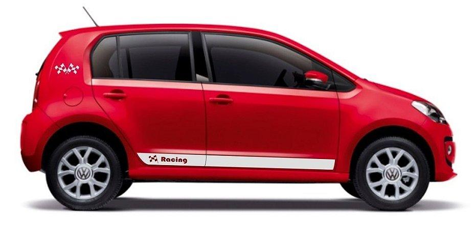 Kit adesivo faixa lateral tuning VW UP 2 E 4 portas Modelo RACING