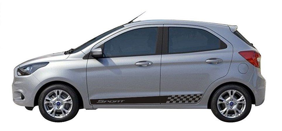 Kit adesivo faixa lateral tuning para carro Ford Novo KA E KA + Modelo SPORT G3