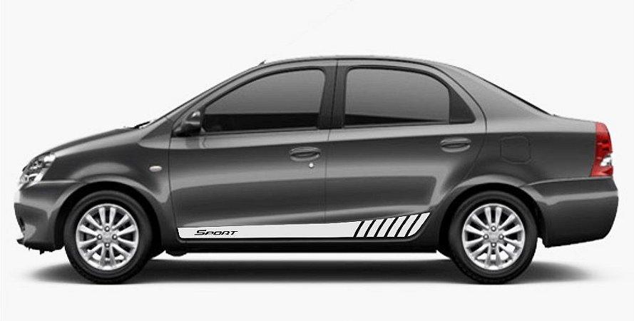 Kit Faixa lateral adesiva tuning para Toyota Etios SEDAN modelo Sport tuning