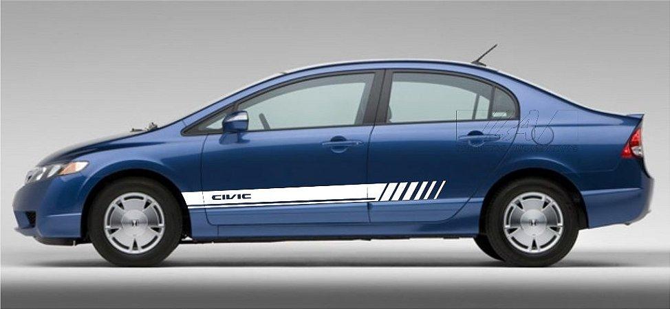 Adesivo Honda New Civic Faixa Lateral modelo CV3 Fita Colante SRT