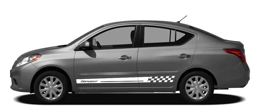 Kit Adesivo lateral Versa Nissan modelo Sport 2 Acessórios Fita Colante SRT Wolf 1