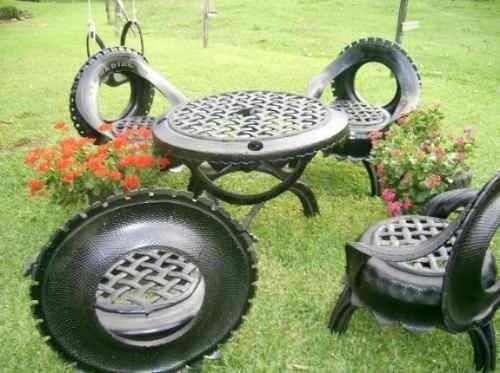 Mesa Para Jardim Feita De Pneu