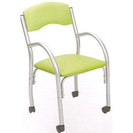 Cadeira Estofada Com Braços Giratória Prata