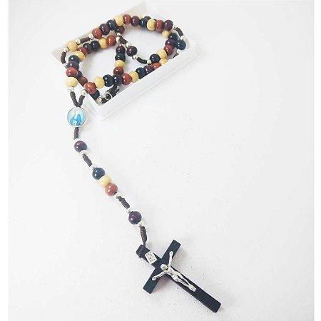 Terço Nossa Senhora Das Graças Madeira Colorida 8mm