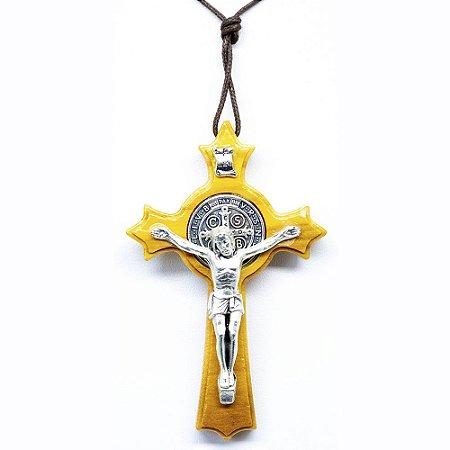 Crucifixo Medalha De São Bento Em Madeira De Oliveira