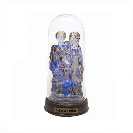Sagrada Família Acrílico - Led Azul E Redoma com Base Ouro Velho 13 CM