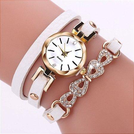 9d8bc3eca45 Moda Feminina Vestido de Pulso de Quartzo Relógio de Ouro De Luxo Strass  Pulseira Arco Desgin