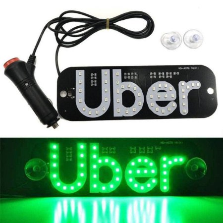Placa Painel Luminoso 12v Led Uber 2 Ventosas Azul