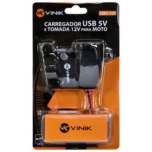 Carregador USB 5V e Tomada 12V para Moto