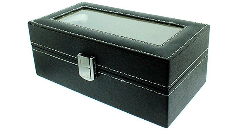 Caixa Expositora para 6 Relógios de Pulso BRX9909 Preta