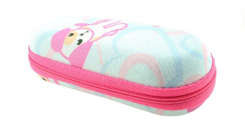 Estojo para Óculos Solar Infantil M130 Estampa Cãozinho com Zíper Rosa Pink