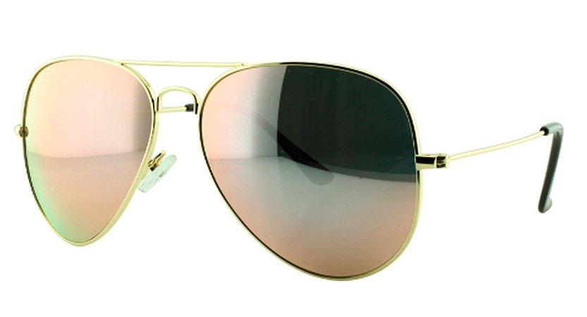 Óculos Solar Aviador Unissex Primeira Linha OC3026 Rosa Espelhado