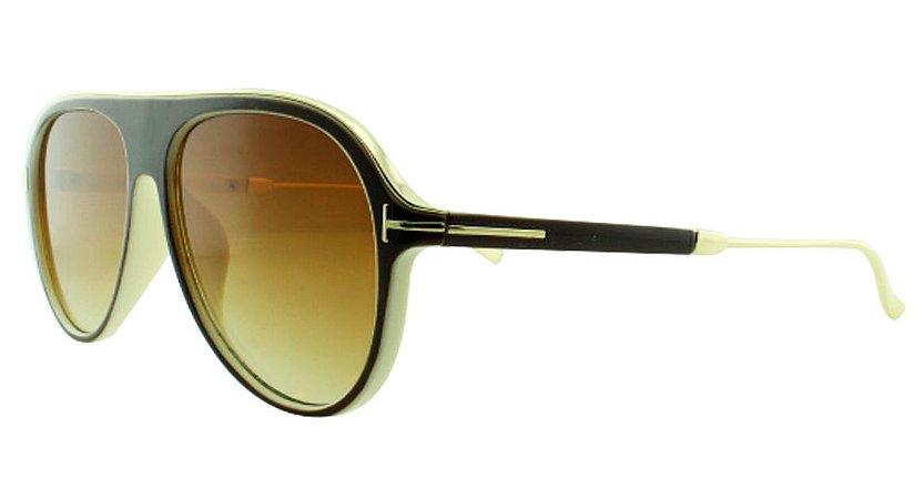 Óculos Solar Unissex Primeira Linha JX8130 Marrom e Bege