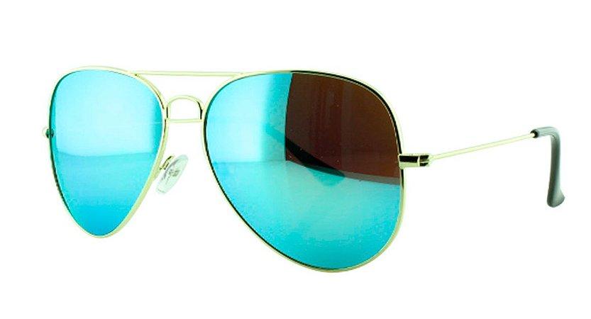 df696adcc Óculos Solar Unissex Primeira Linha Aviador 3025 Azul Claro Espelhado