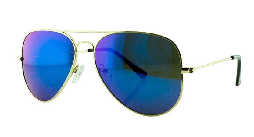 af2f1e112 Óculos Solar Unissex Primeira Linha Aviador 3025 Azul Escuro Espelhado