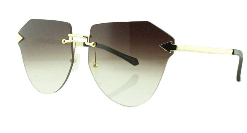 Óculos Solar Feminino Primeira Linha S31160 Marrom Escuro Degradê