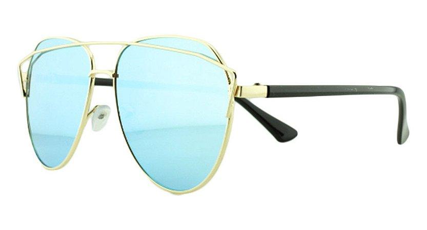 Óculos Solar Feminino AP8808 Azul Espelhado