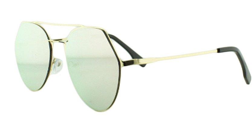 Óculos Solar Feminino K6185 Rosa Espelhado